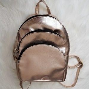 Rose Gold Metallic MultiZip Fashion Backpack Purse